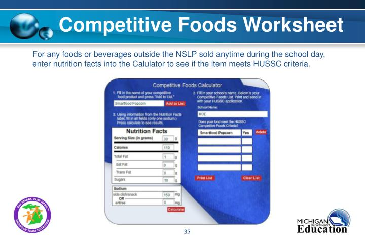 Competitive Foods Worksheet