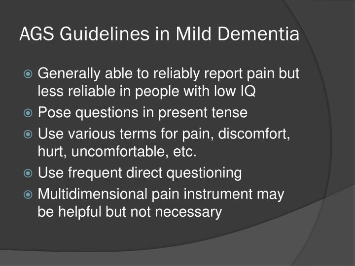 AGS Guidelines in Mild Dementia
