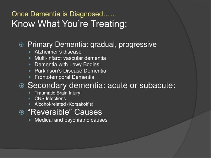 Once dementia is diagnosed know what you re treating