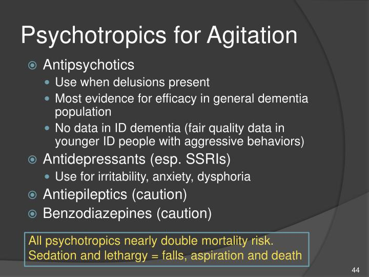 Psychotropics for Agitation