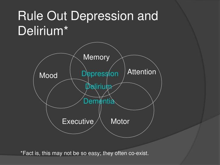 Rule out depression and delirium
