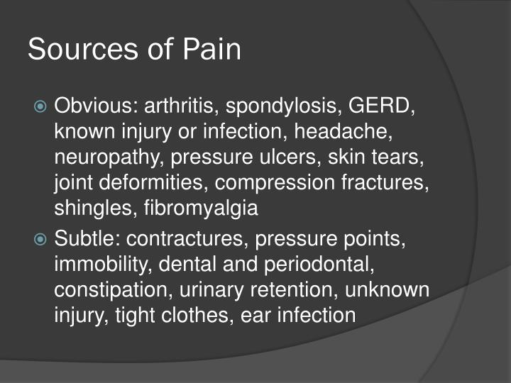 Sources of Pain