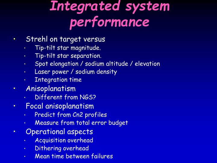 Integrated system performance