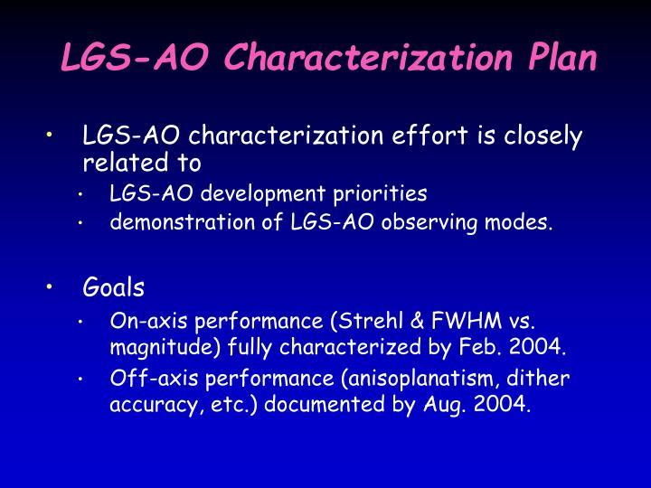 LGS-AO Characterization Plan