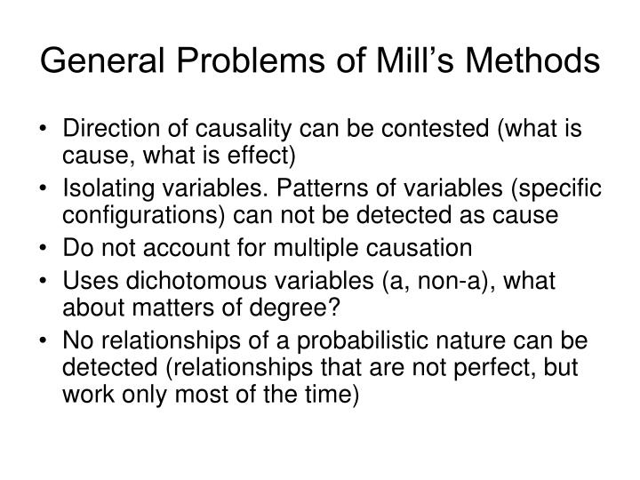 General Problems of Mill's Methods