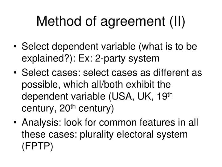 Method of agreement (II)