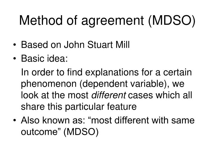 Method of agreement (MDSO)