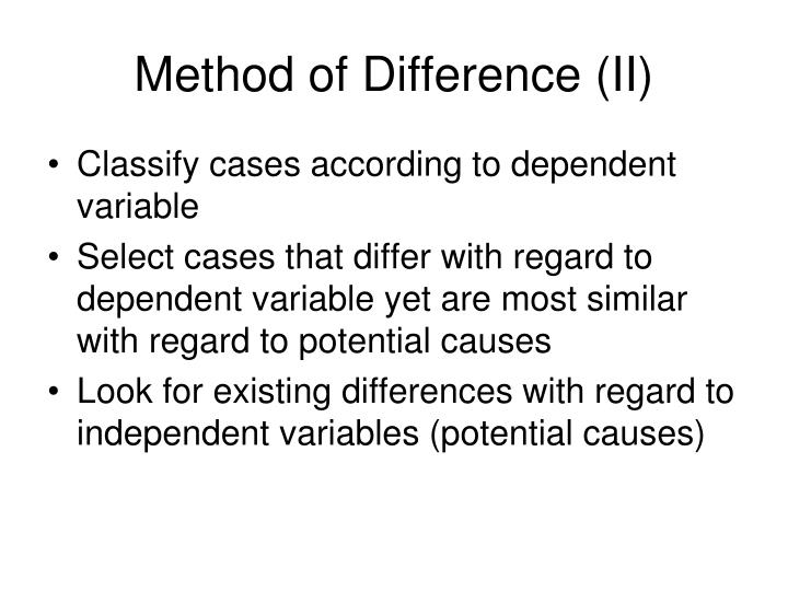 Method of Difference (II)