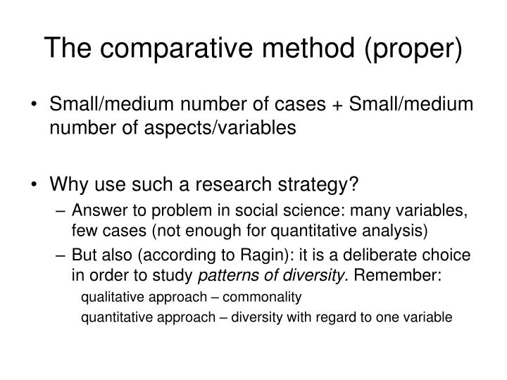 The comparative method (proper)