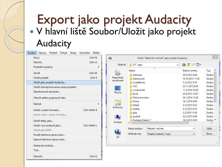 Export jako projekt