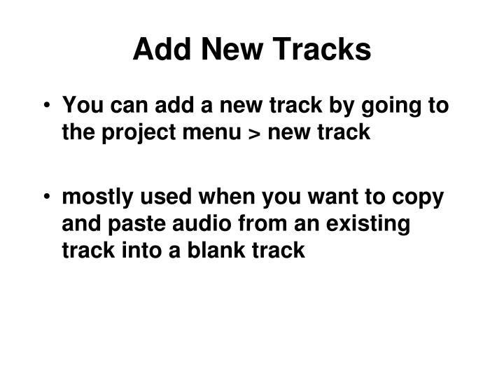 Add New Tracks