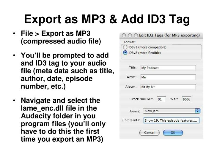 Export as MP3 & Add ID3 Tag