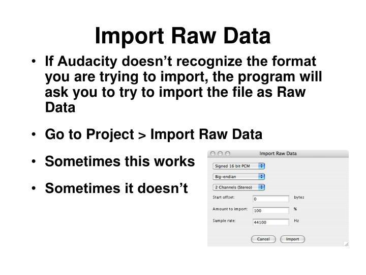 Import Raw Data