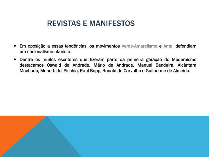 REVISTAS E MANIFESTOS