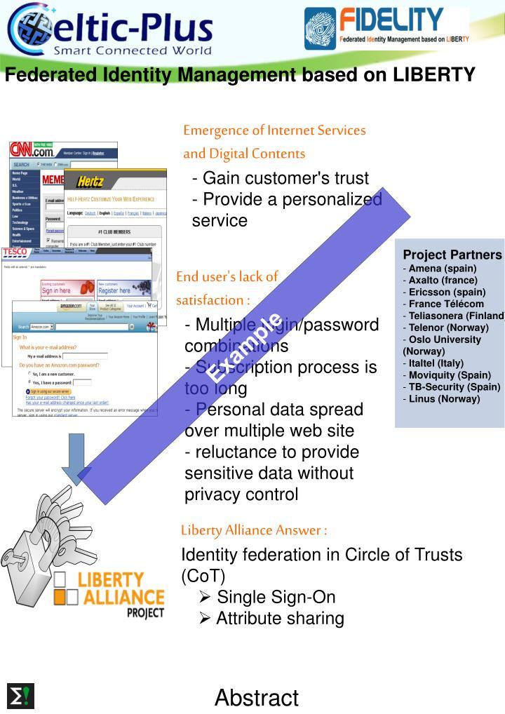 Federated Identity Management based on LIBERTY