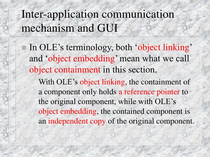 Inter application communication mechanism and gui
