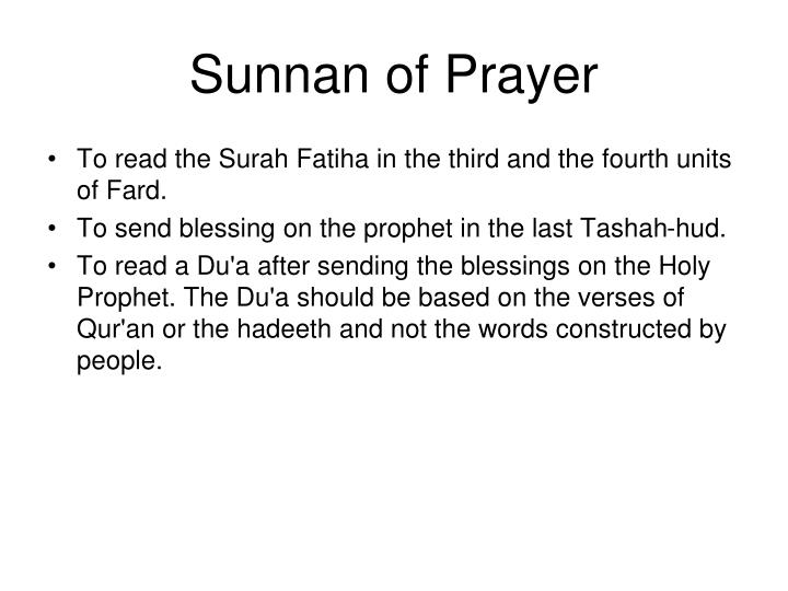 Sunnan of Prayer