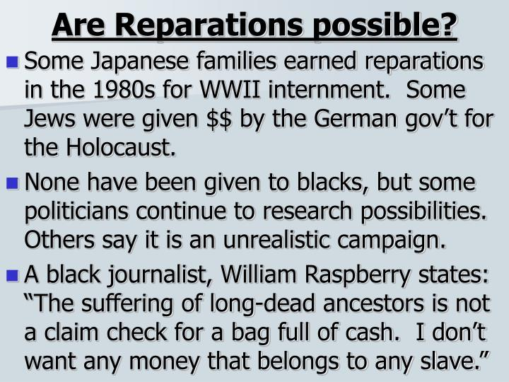 Are reparations possible