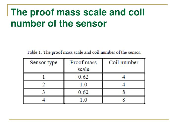The proof mass scale and coil number of the sensor