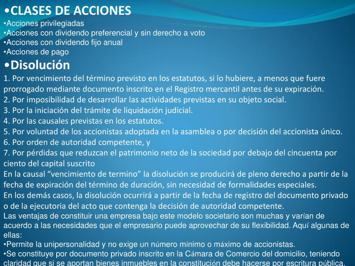 CLASES DE ACCIONES