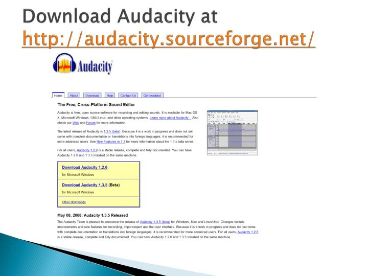 Download Audacity at