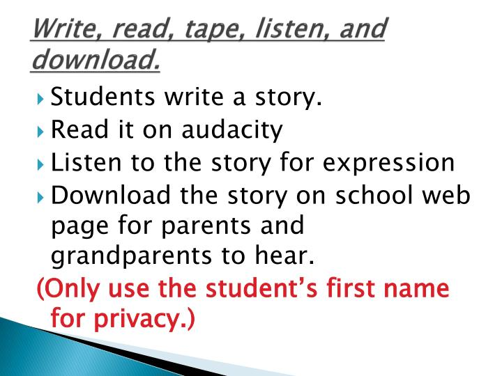 Write, read, tape, listen, and download.