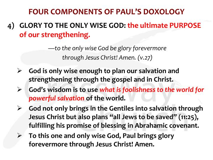 FOUR COMPONENTS OF PAUL'S DOXOLOGY