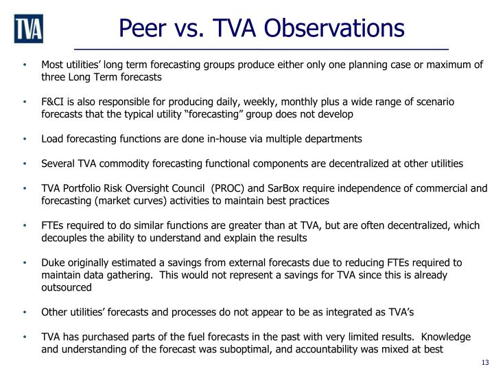 Peer vs. TVA Observations