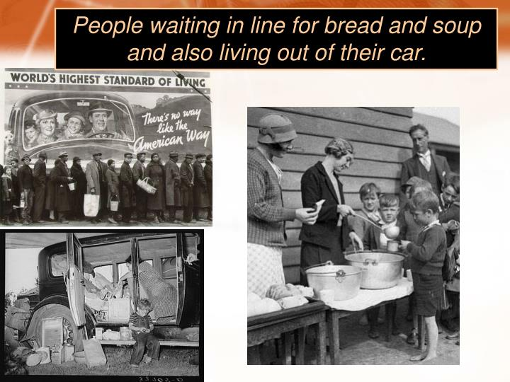 People waiting in line for bread and soup and also living out of their car.