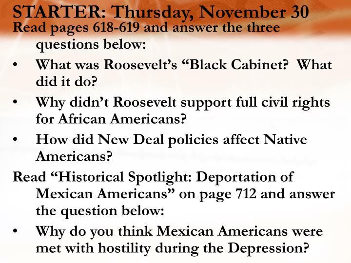 STARTER: Thursday, November 30