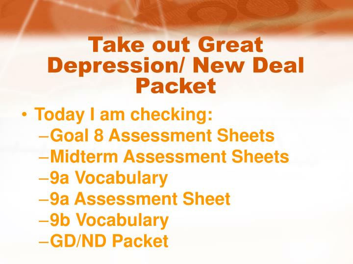 Take out Great Depression/ New Deal Packet