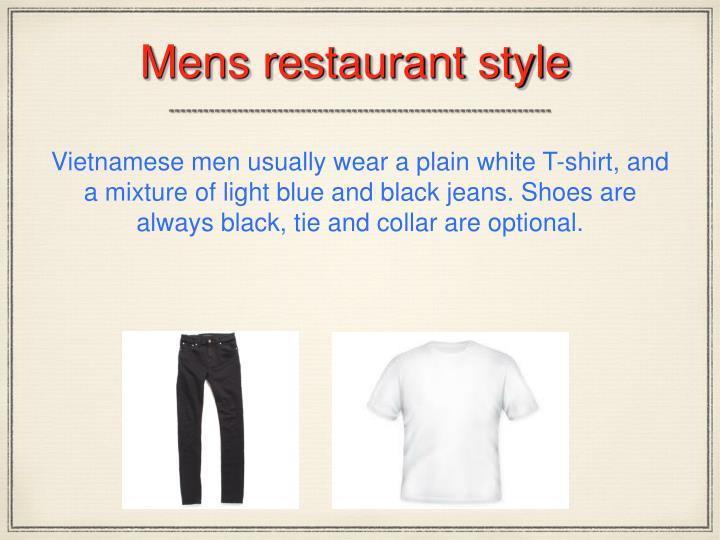 Mens restaurant style