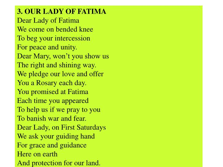 3. OUR LADY OF FATIMA