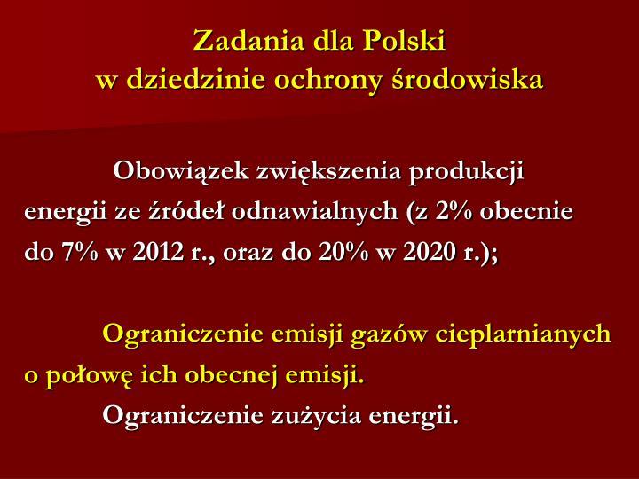 Zadania dla Polski