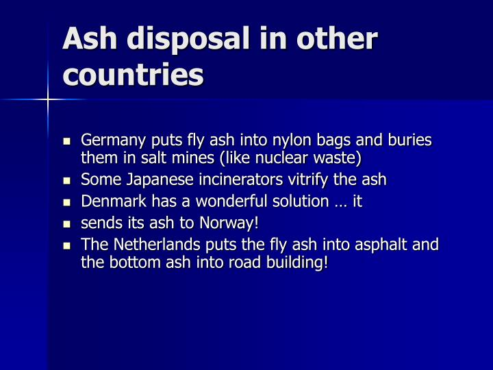 Ash disposal in other countries