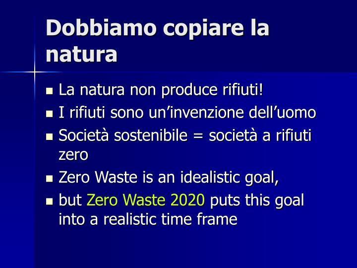 Dobbiamo copiare la natura