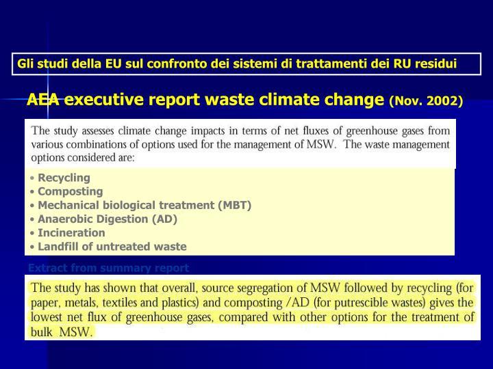 Gli studi della EU sul confronto dei sistemi di trattamenti dei RU residui