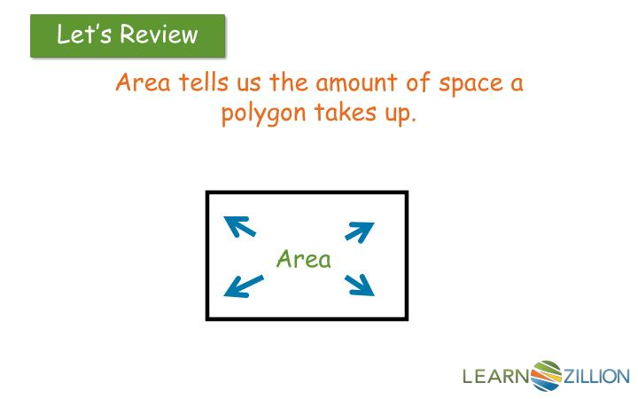 Area tells us the amount of space a polygon takes up.