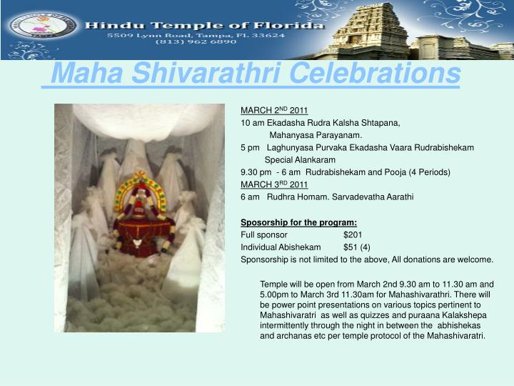 Maha shivarathri celebrations