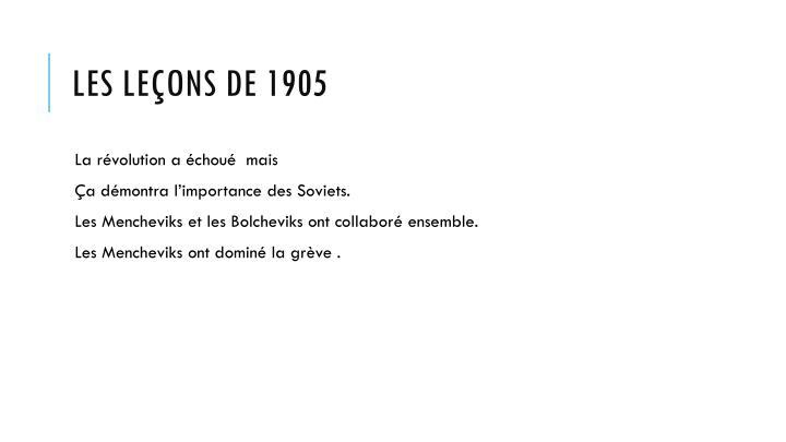 Les leçons de 1905