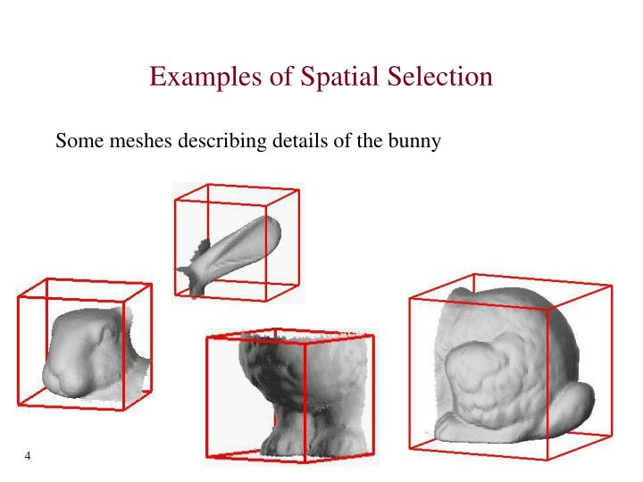 Examples of Spatial Selection