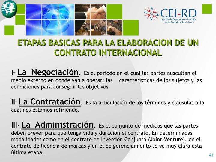 ETAPAS BASICAS PARA LA ELABORACION DE UN CONTRATO INTERNACIONAL