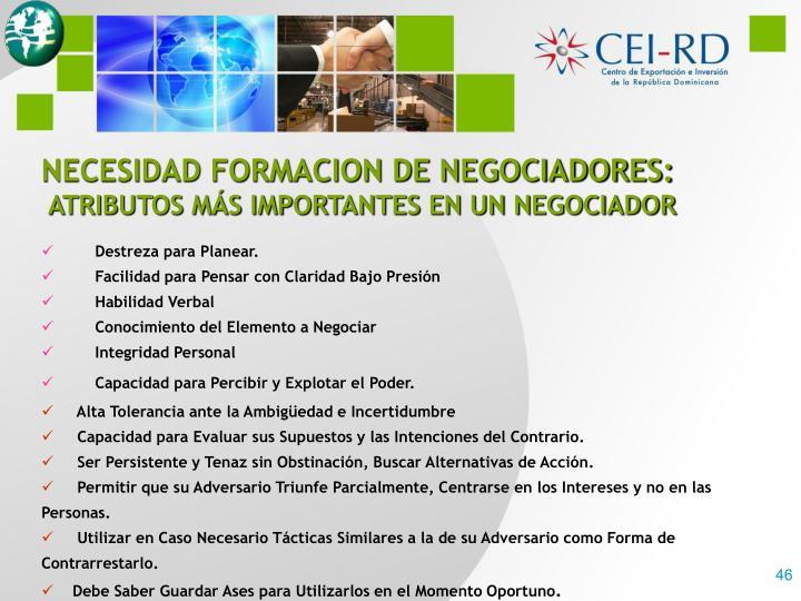 NECESIDAD FORMACION DE NEGOCIADORES: