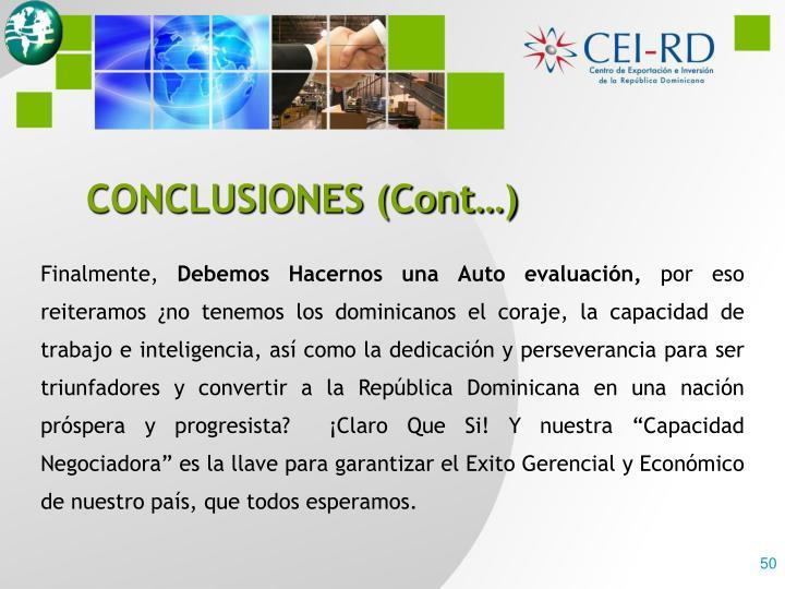 CONCLUSIONES (Cont…)