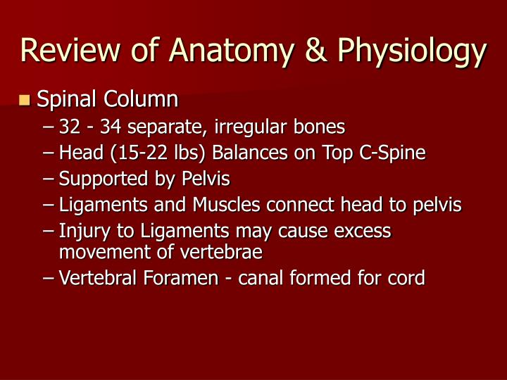 Review of Anatomy & Physiology