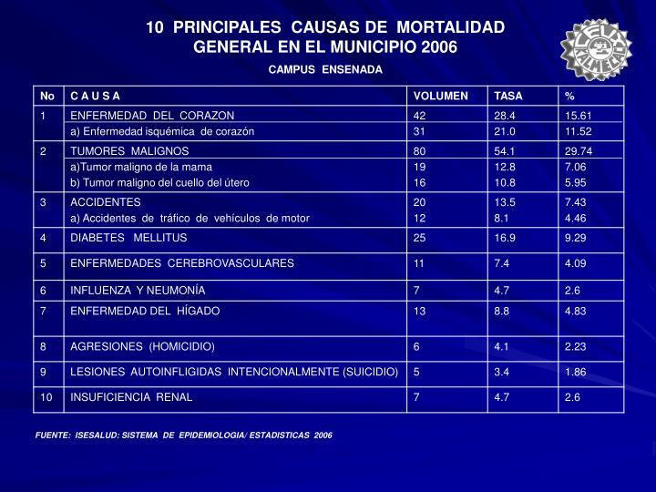 10  PRINCIPALES  CAUSAS DE  MORTALIDAD GENERAL EN EL MUNICIPIO 2006
