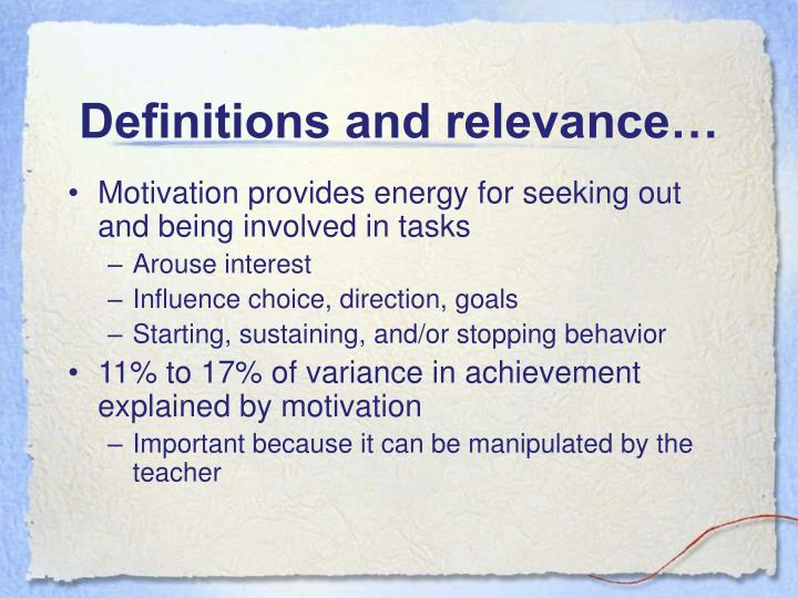 Definitions and relevance