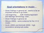 goal orientations in music