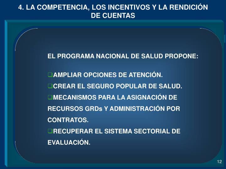 4. LA COMPETENCIA, LOS INCENTIVOS Y LA RENDICIÓN DE CUENTAS