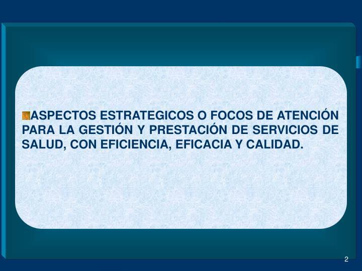 ASPECTOS ESTRATEGICOS O FOCOS DE ATENCIÓN PARA LA GESTIÓN Y PRESTACIÓN DE SERVICIOS DE SALUD, CON EFICIENCIA, EFICACIA Y CALIDAD.